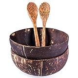 2er Set Schalen und Löffel aus echter Kokosnuss |...